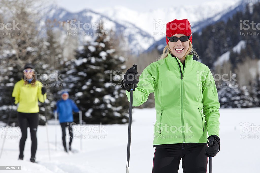 Group Enjoys Back Country Nordic Skiing royalty-free stock photo
