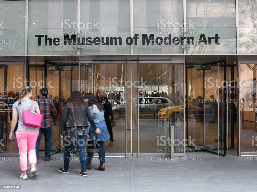 Group enters Museum of Modern Art New Yrok stock photo