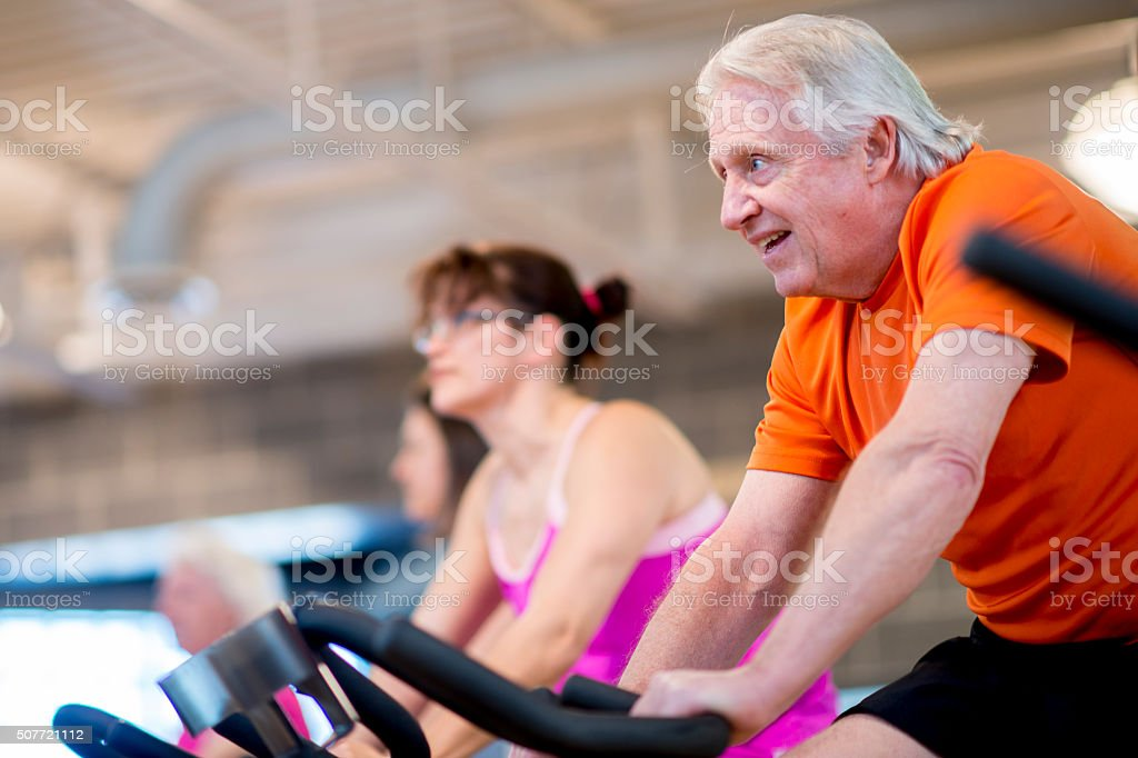 Group Spin Class at a Health Club stock photo