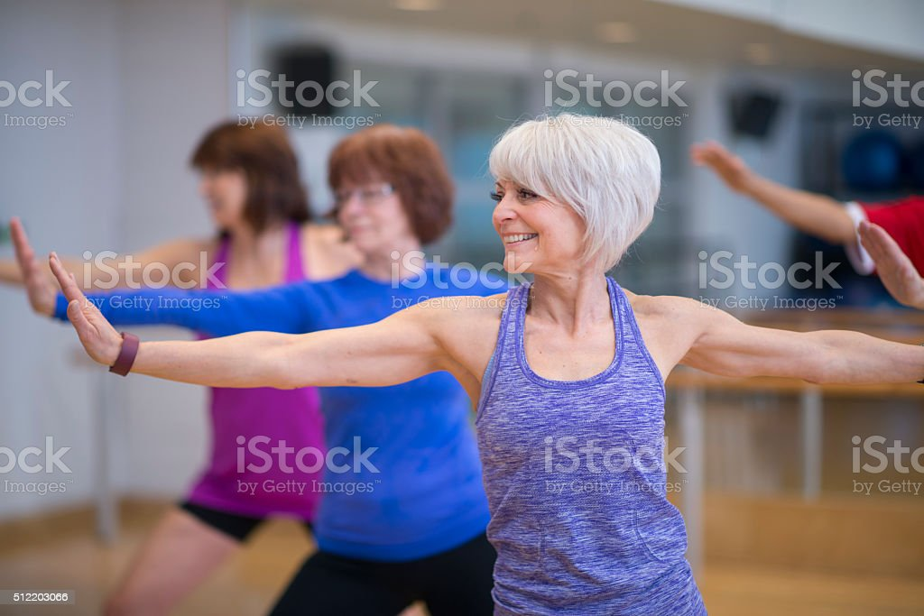 Group Exercise Class at the Gym stock photo