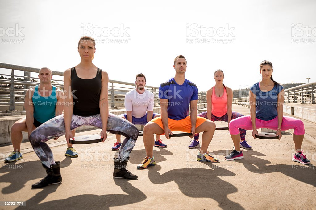 Group fitness class stock photo