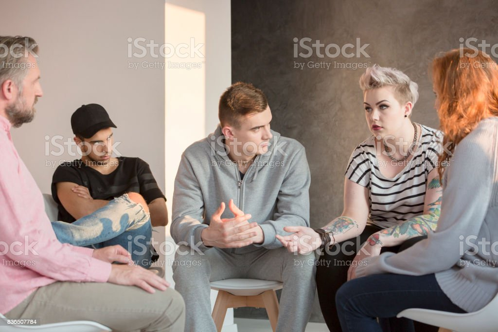 Group focusing on a girl stock photo