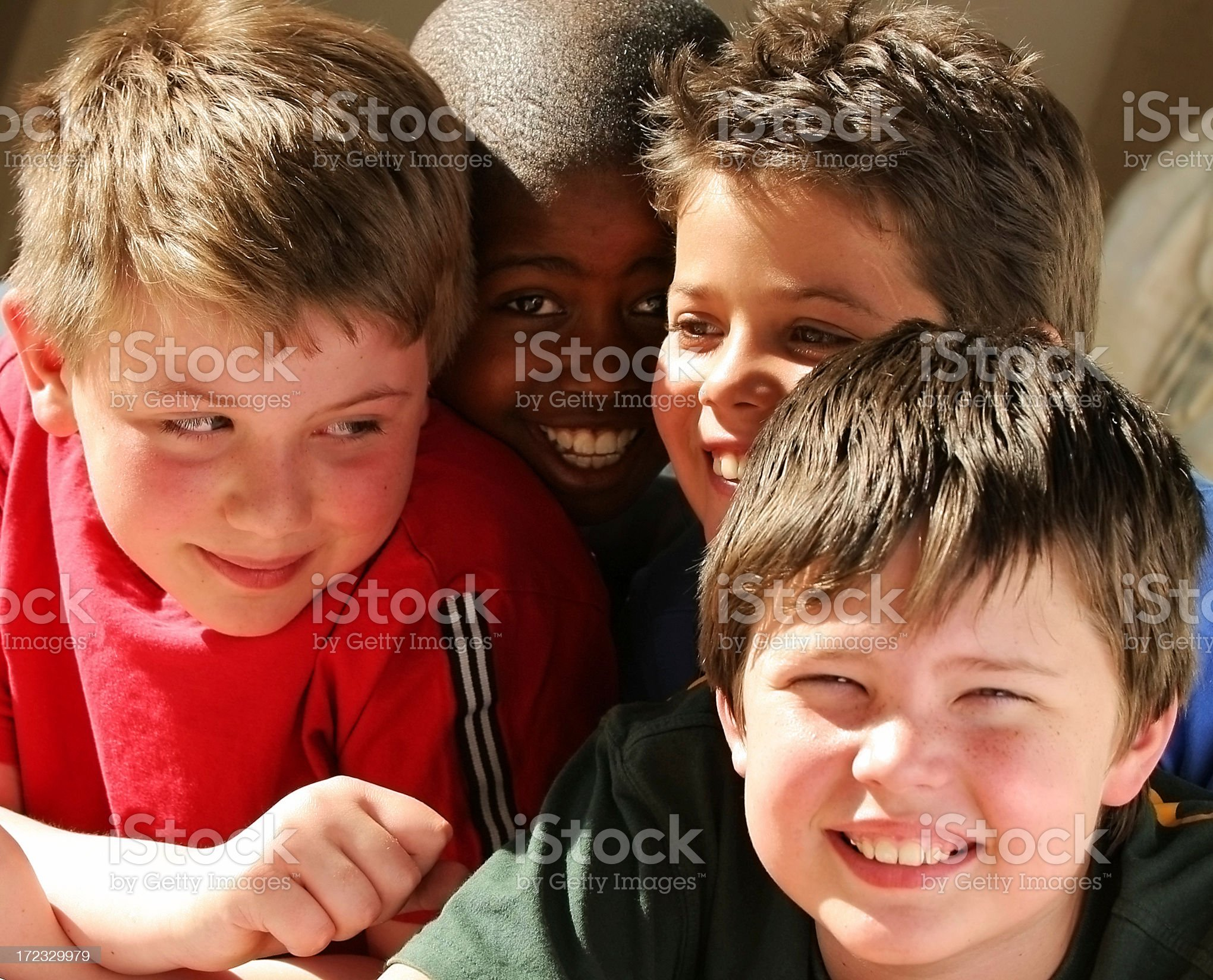 Group four schoolboys royalty-free stock photo