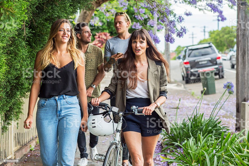 Group friends in suburban Sydney stock photo