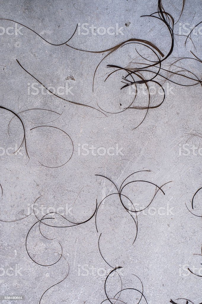 group hair cut off on grey concrete background at the stock photo