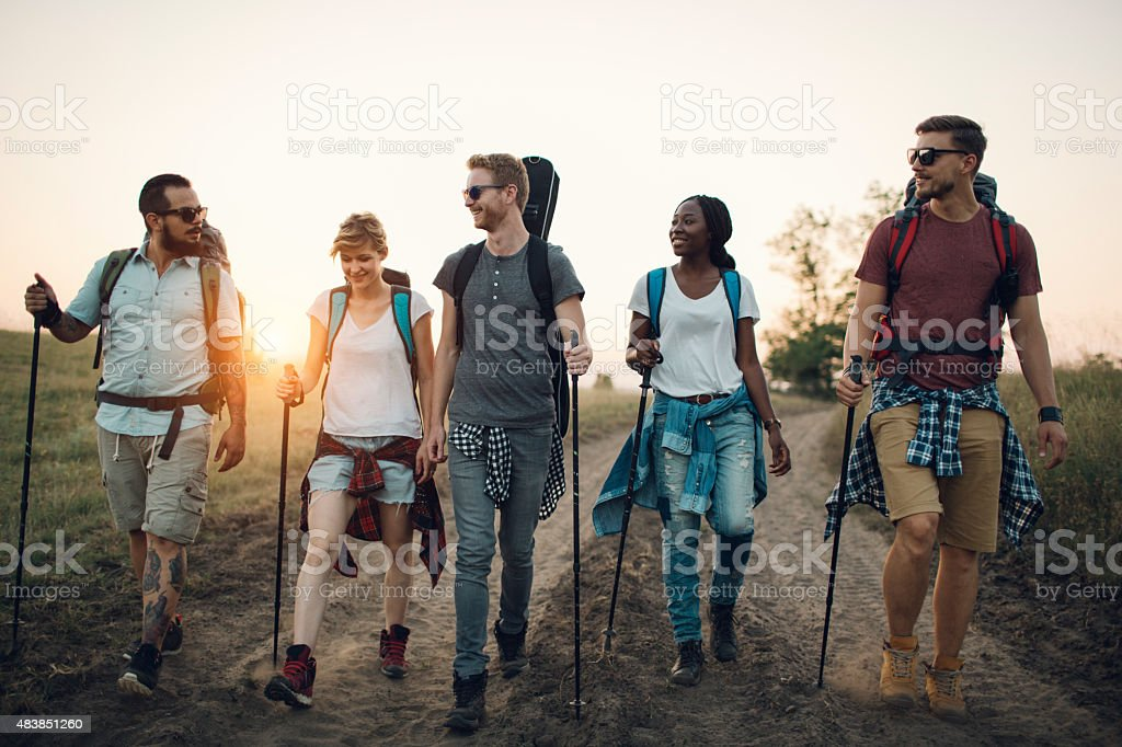 Group Hiking In Nature. stock photo