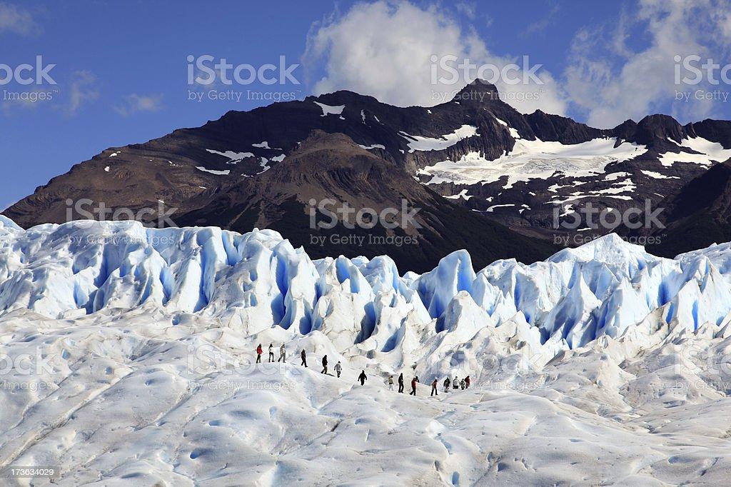 Group Hiking on Perito Moreno glacier, Patagonia, Argentina stock photo