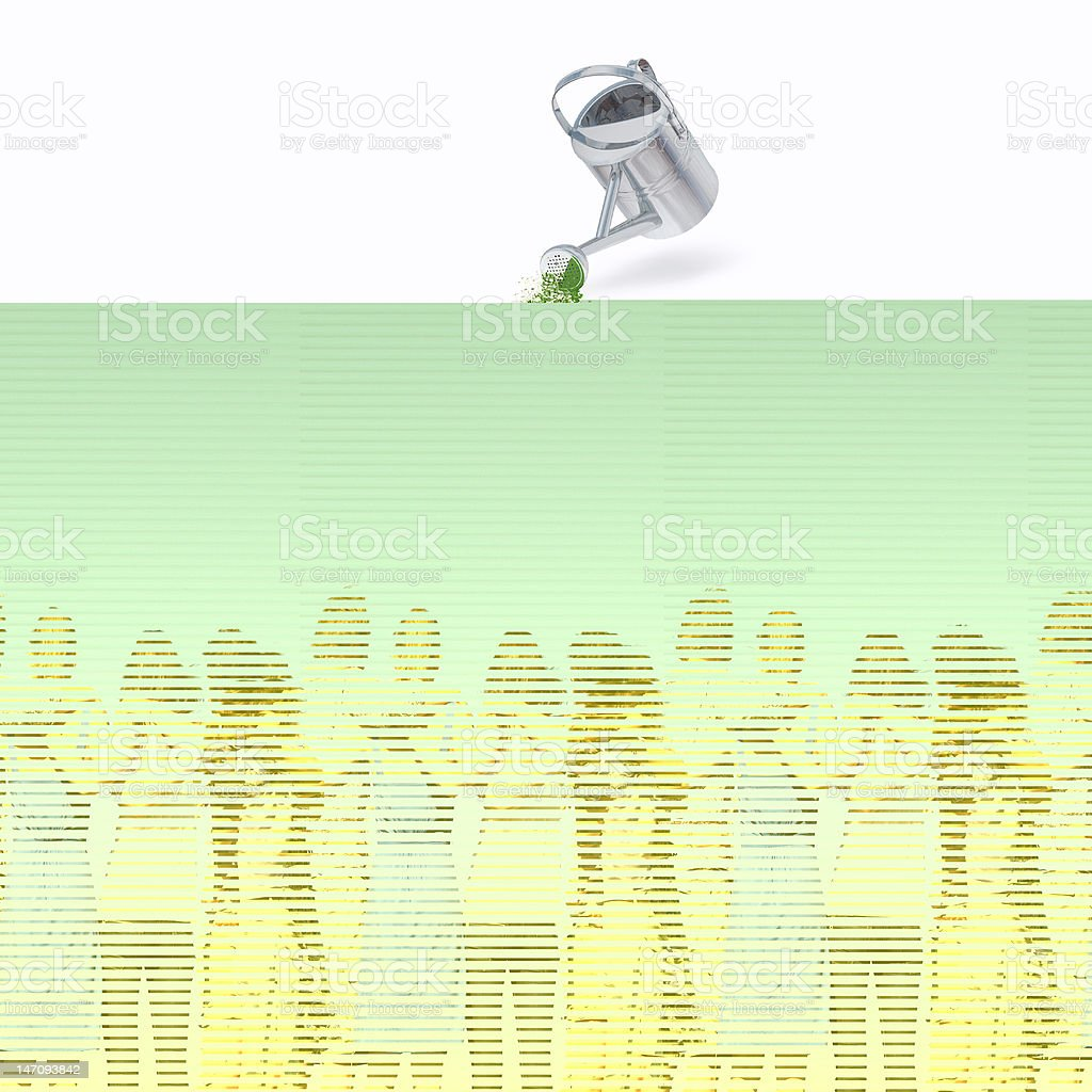Group Huddle in Green Field royalty-free stock photo