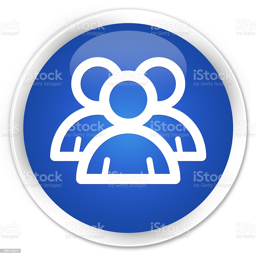 Group icon blue glossy round button stock photo