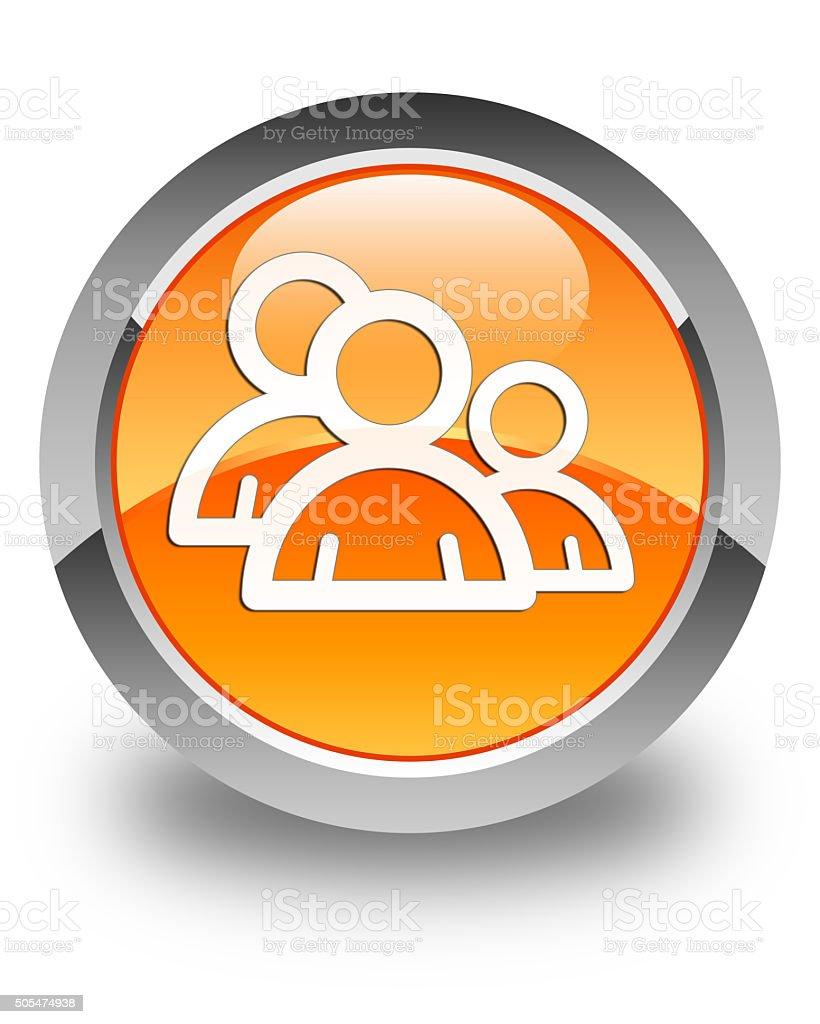 Group icon glossy orange round button 3 stock photo