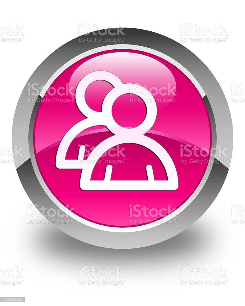 Group icon glossy pink round button stock photo