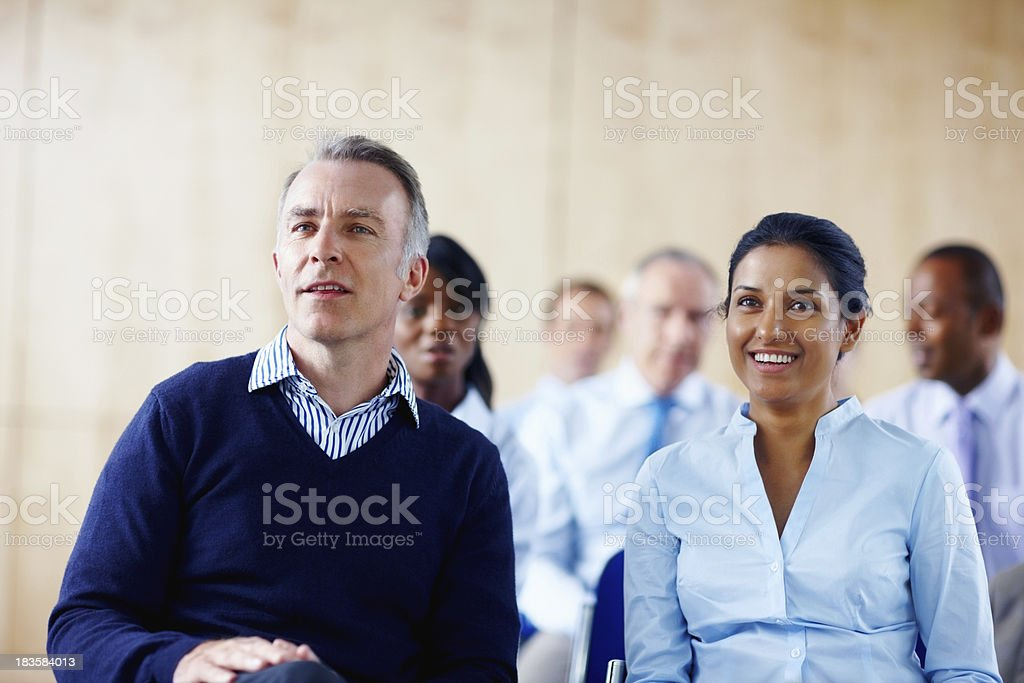 Group listening to presentation royalty-free stock photo