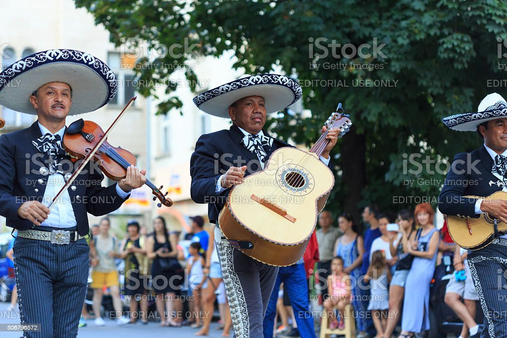 Group mariachi participating in festival stock photo
