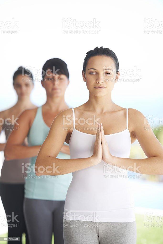 Group meditation royalty-free stock photo