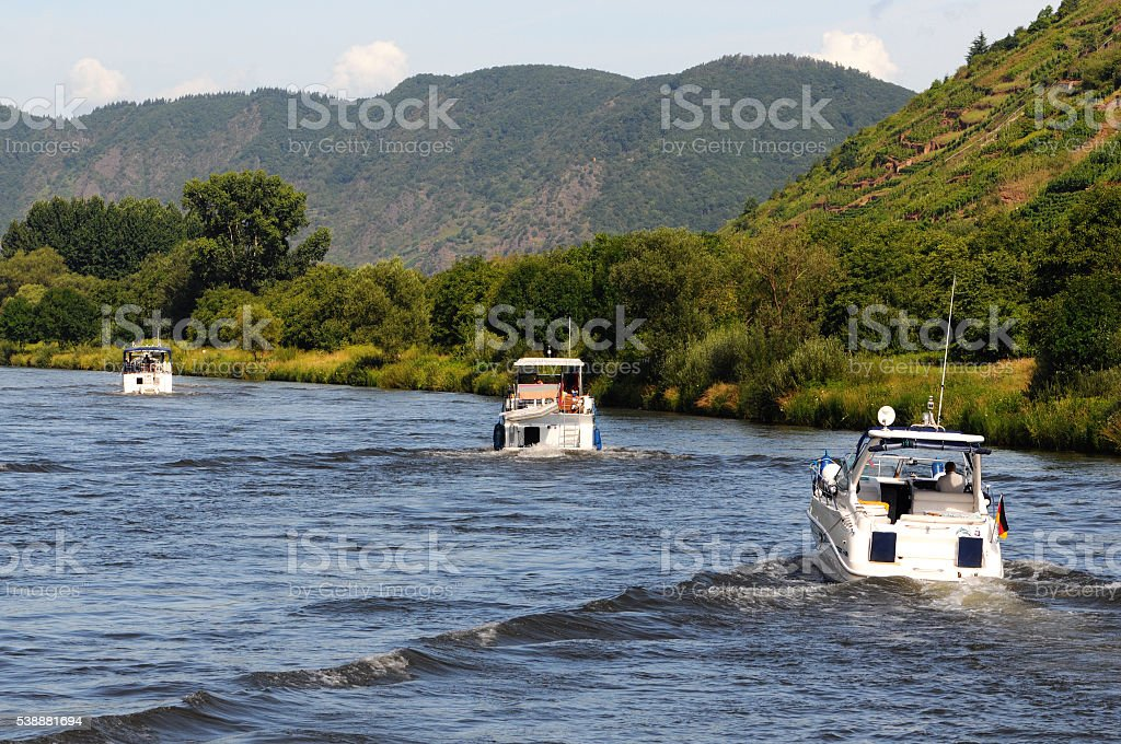 group motorboat on mosel river stock photo
