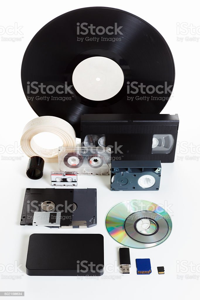 Group obsolete and new media, the history of development stock photo