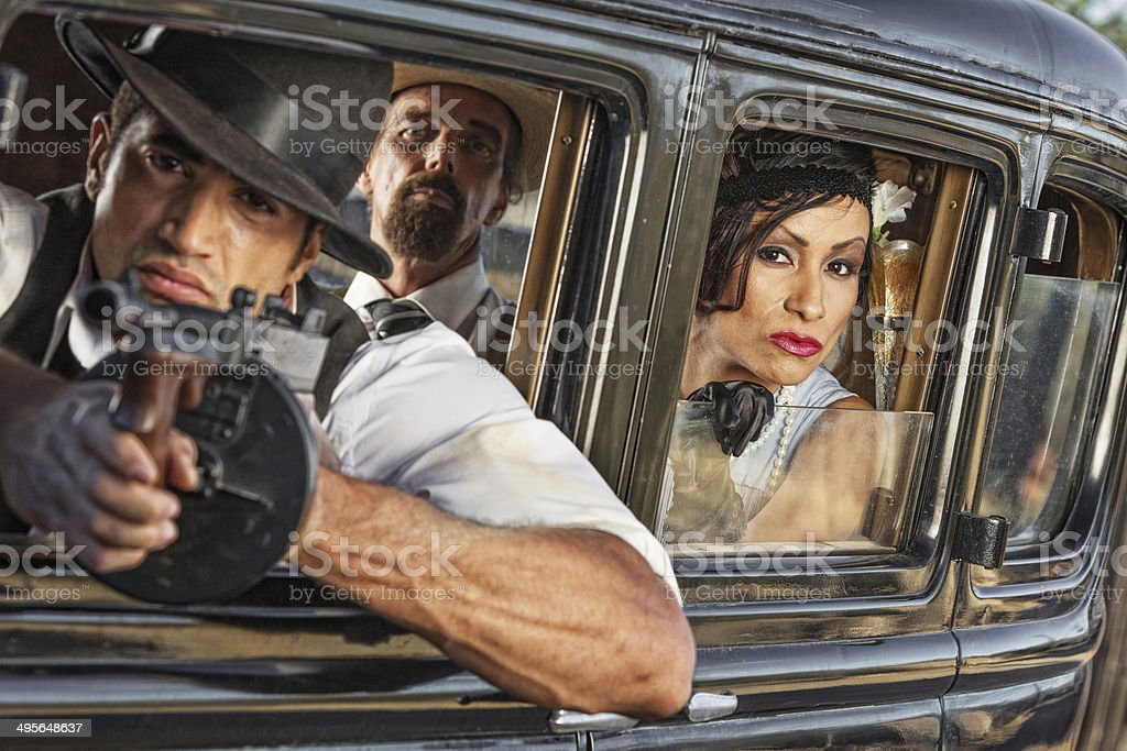 Group of 1920s Armed Gangsters stock photo