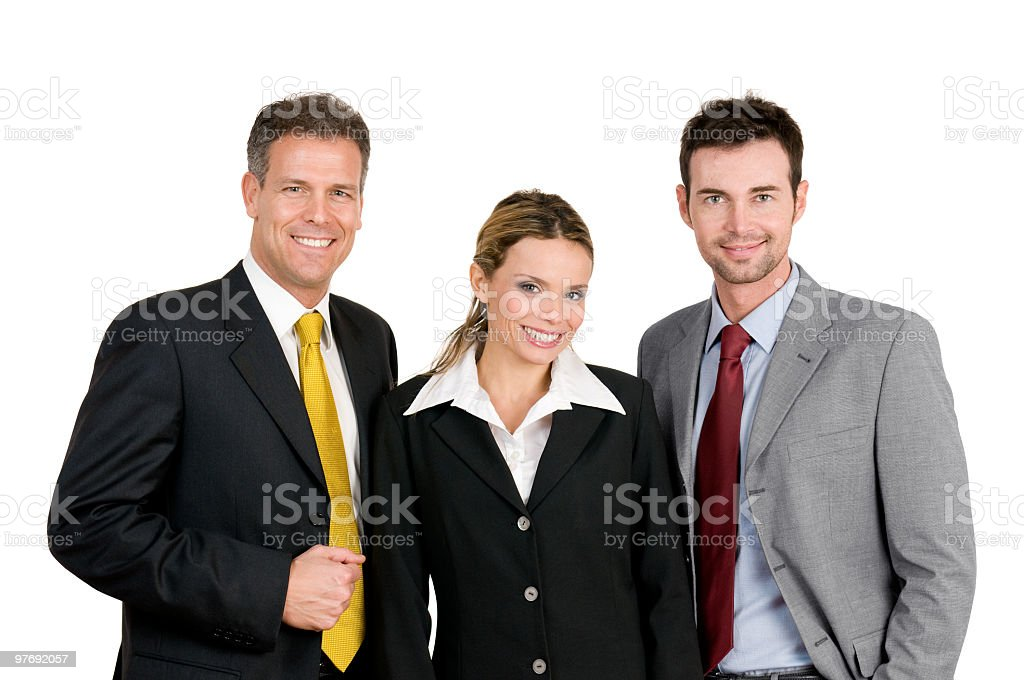 A group of 3 business people smiling royalty-free stock photo