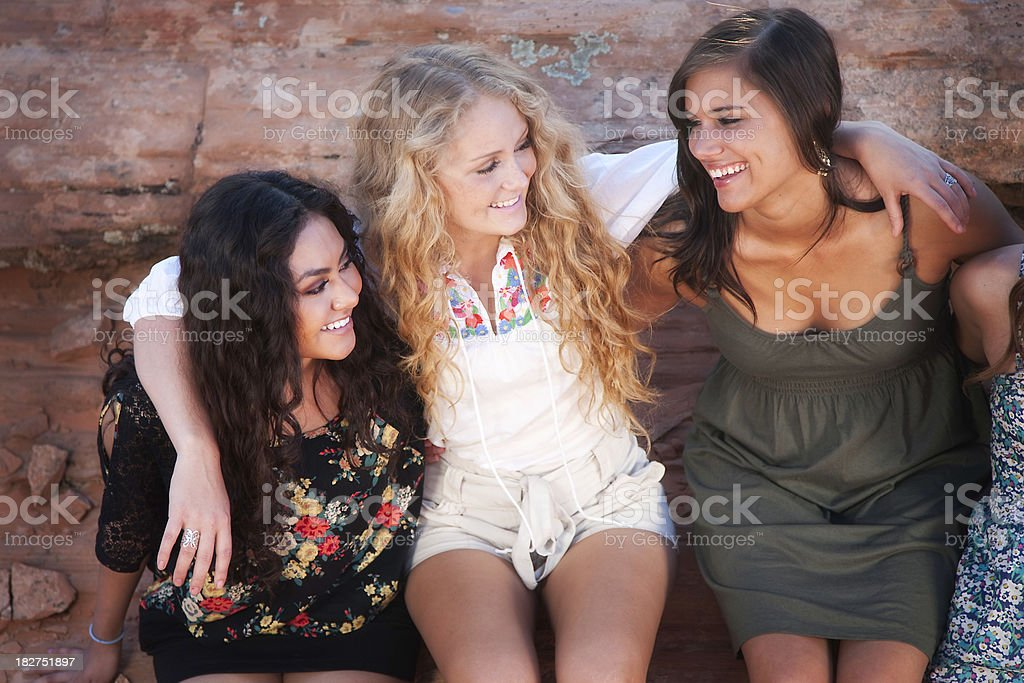 Group of 3 Diverse and Beautiful Friends royalty-free stock photo