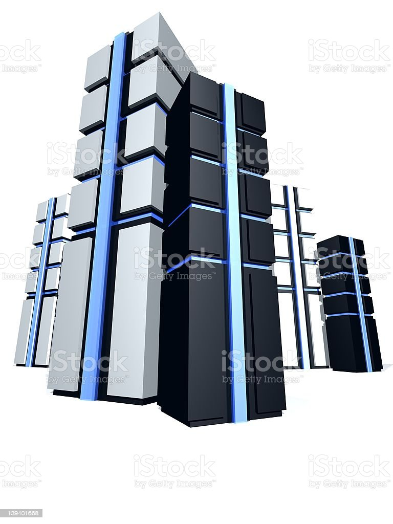 group of 3d servers royalty-free stock photo
