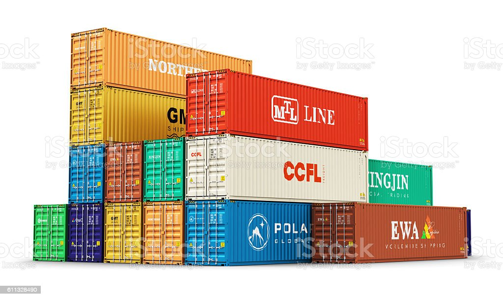 Group of 40 ft freight cargo containers stock photo