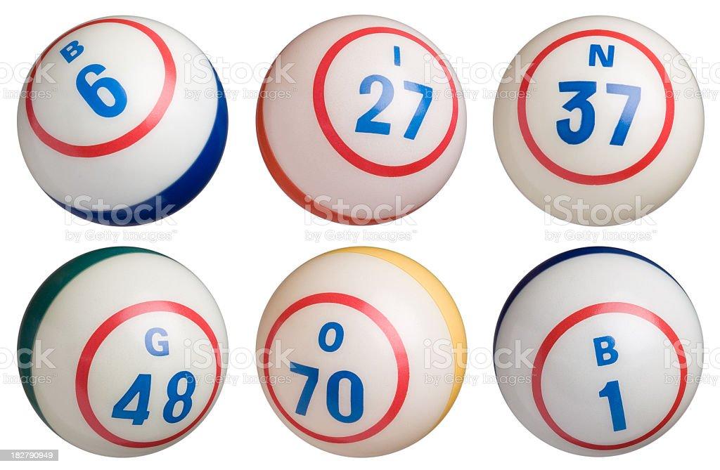 Group of 6 Bingo Balls stock photo