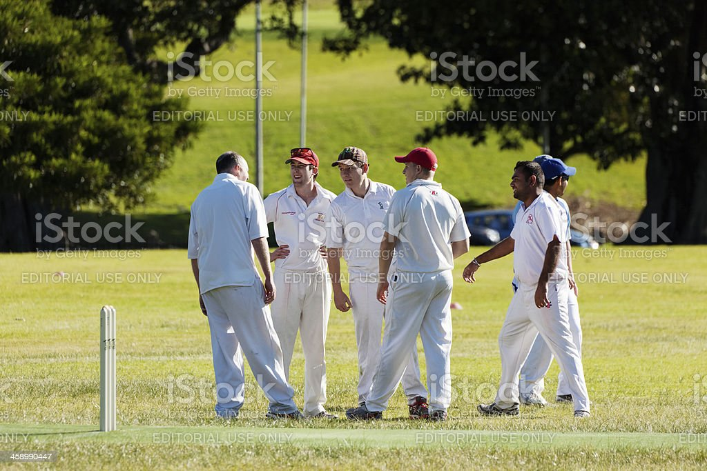 Group of 6 people playing cricket stock photo