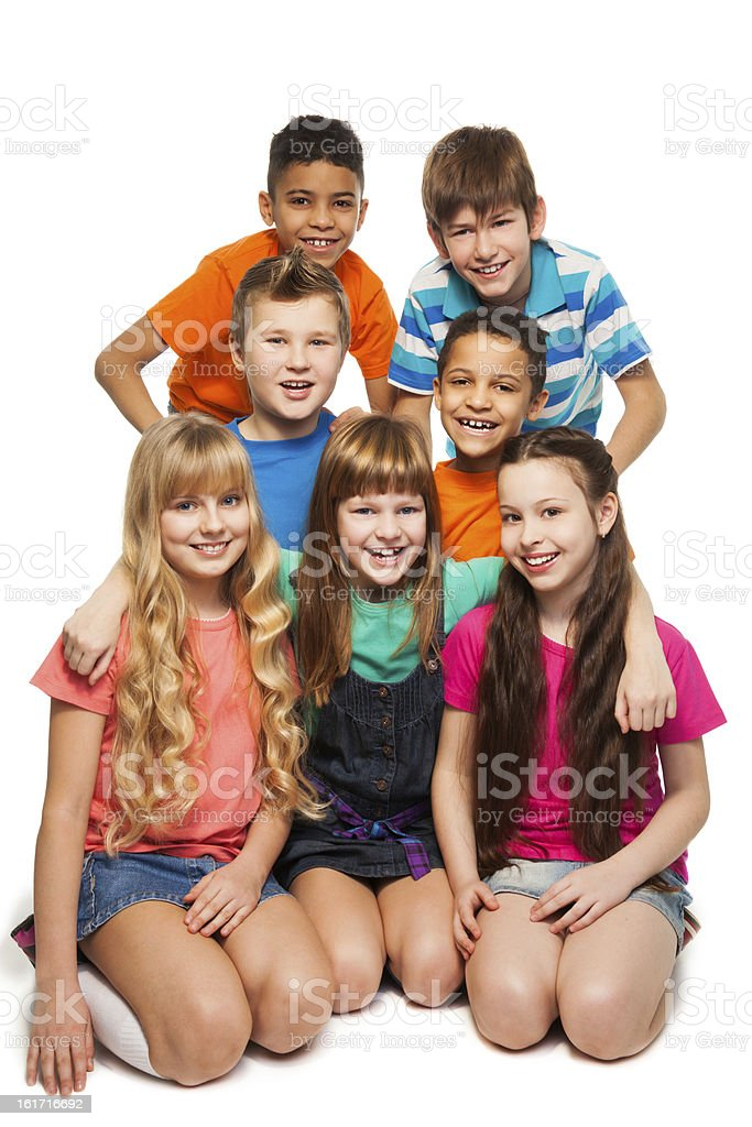 Group of 7 kids together royalty-free stock photo