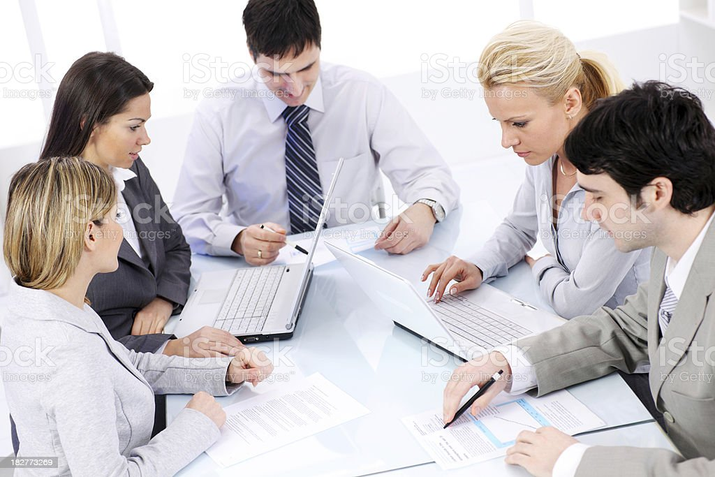 Group of a business people working in office. royalty-free stock photo