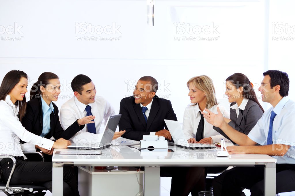 Group of a many business people sitting in the office. royalty-free stock photo