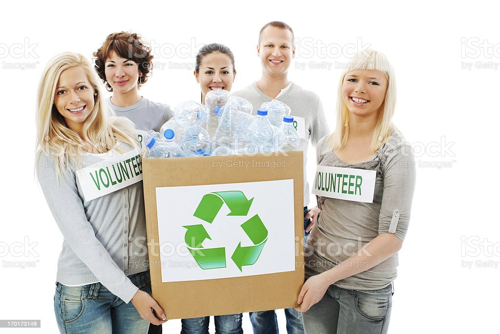 Group of a Volunteers holding recycling box. royalty-free stock photo