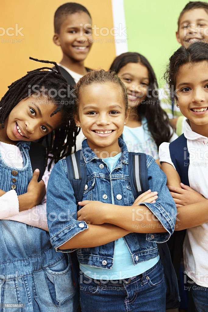 Group of adorable kids standing together royalty-free stock photo