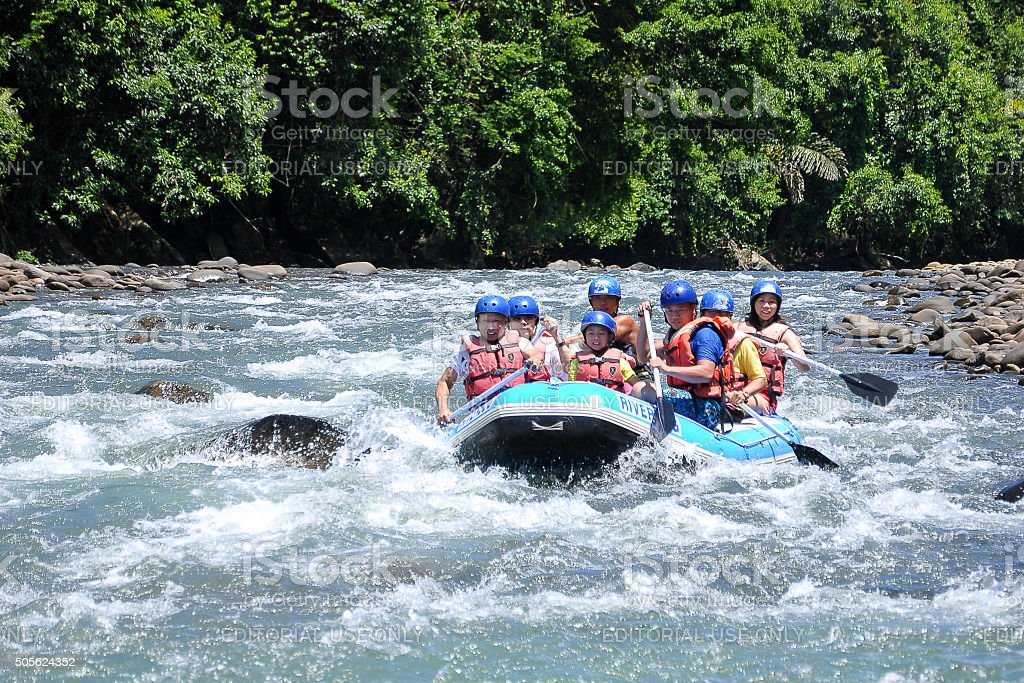 Group of adventurer enjoying water activity at Kiulu river Sabah. stock photo