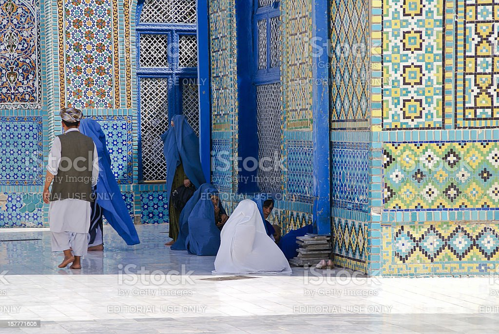 Group of Afghan women gathered at the Blue Mosque. stock photo