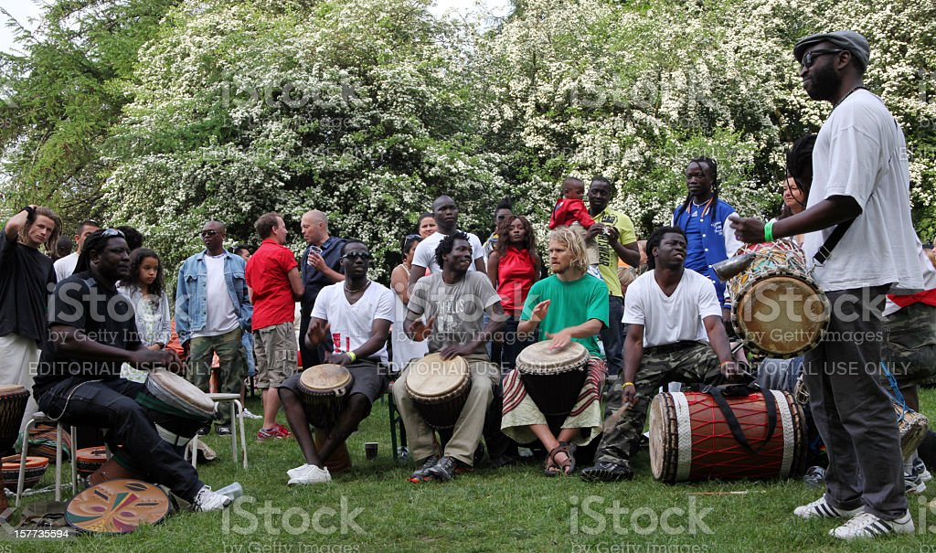 Group of African men playing  drums during carnival in Copenhagen royalty-free stock photo