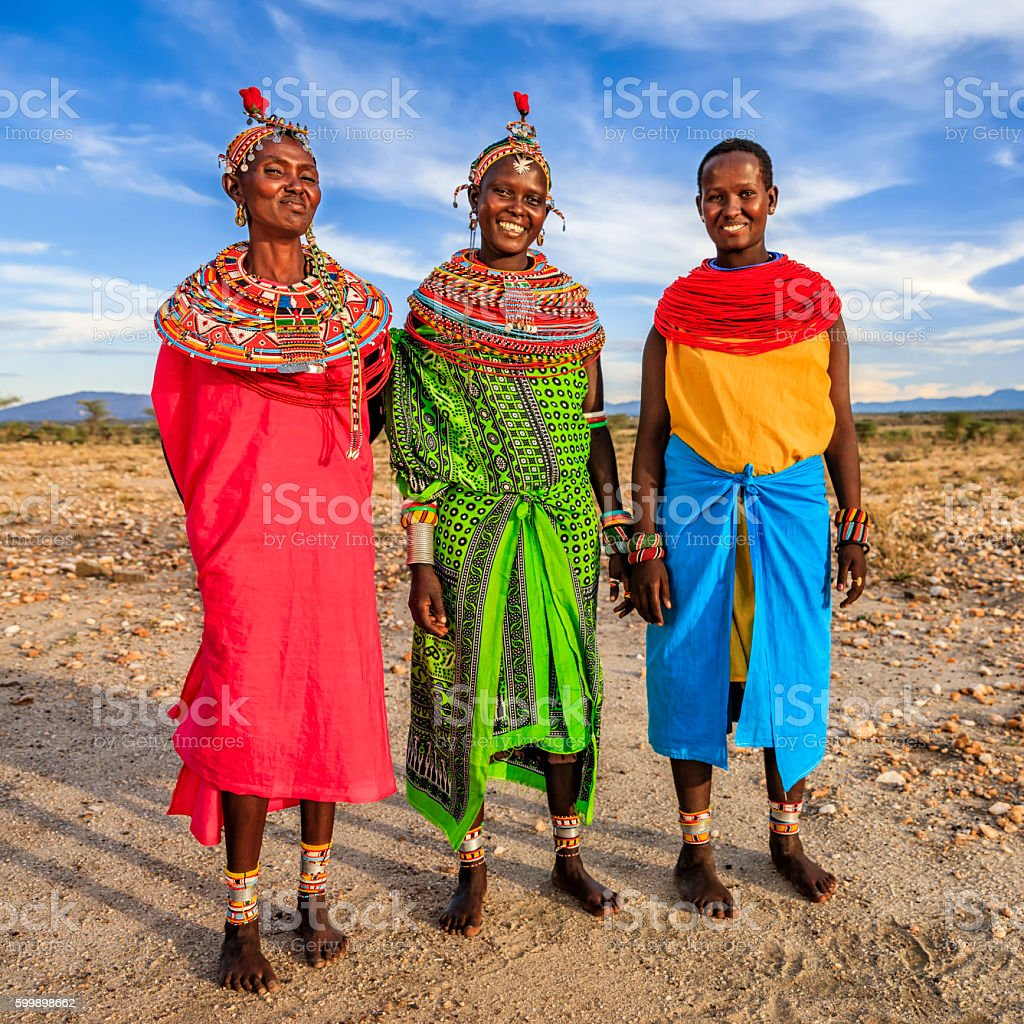 Group of African women from Samburu tribe, Kenya, Africa stock photo