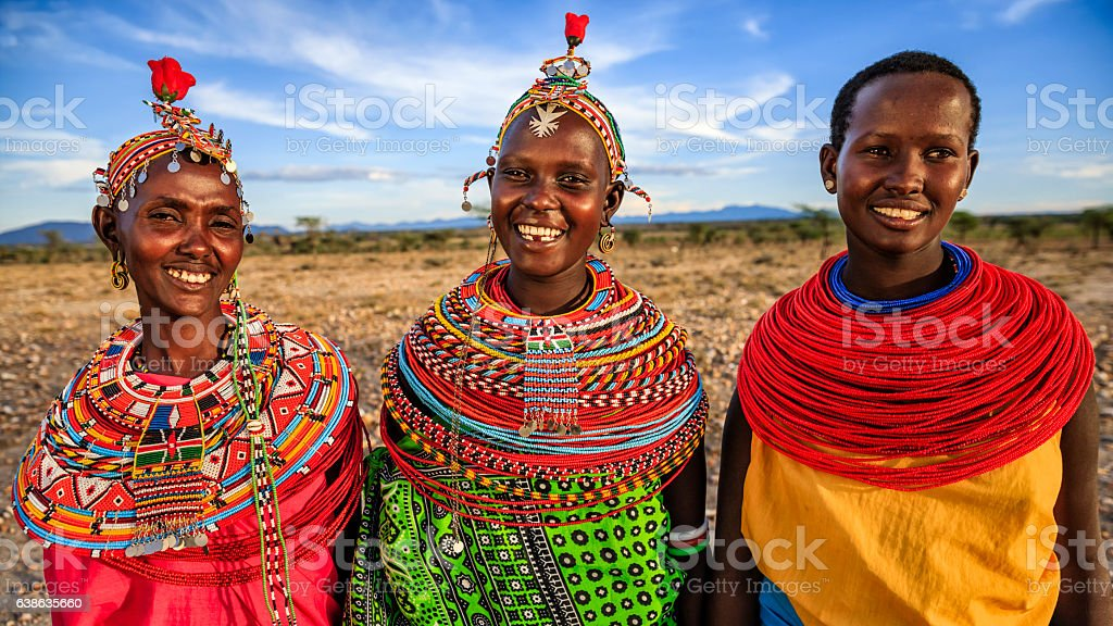 Group of African women from Samburu tribe, Kenya, Africa stock photo