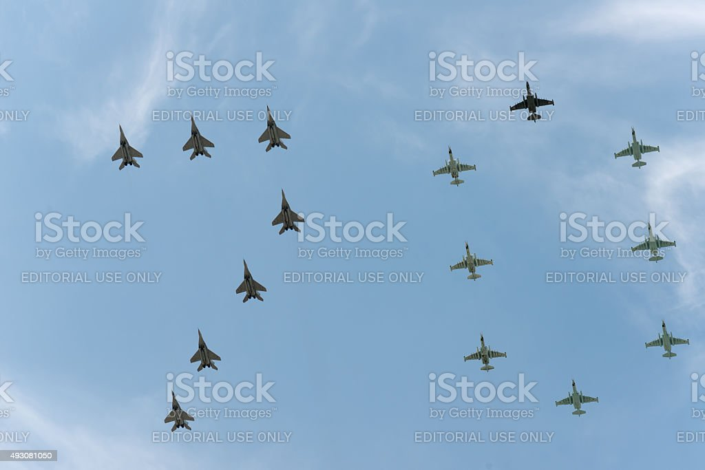 Group of airplanes Sukhoi Su-25SM and MIG-29 stock photo