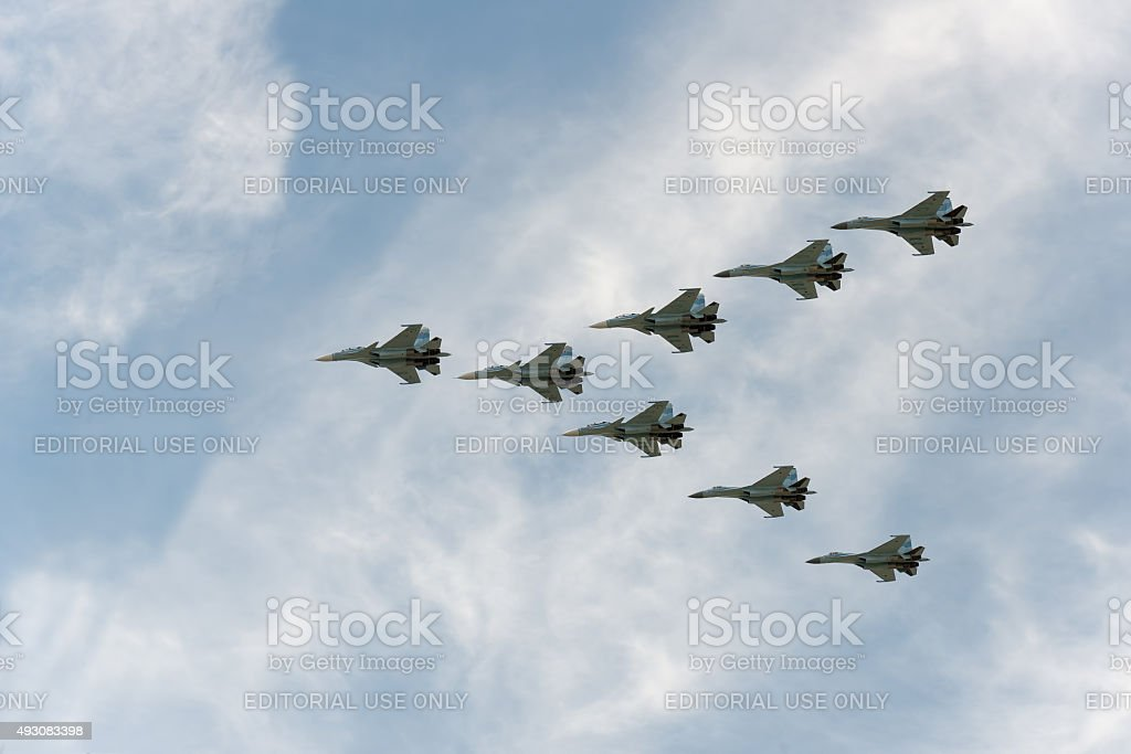 Group of airplanes Sukhoi Su-30SM stock photo