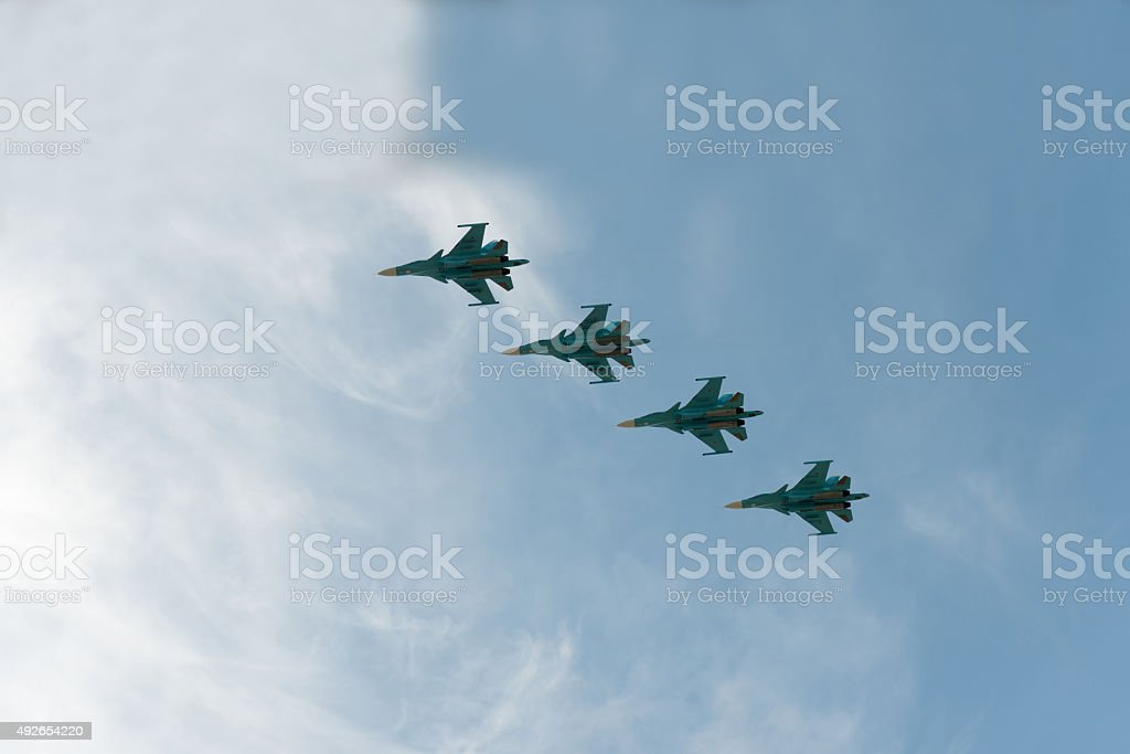 Group of airplanes Sukhoi Su-33 stock photo