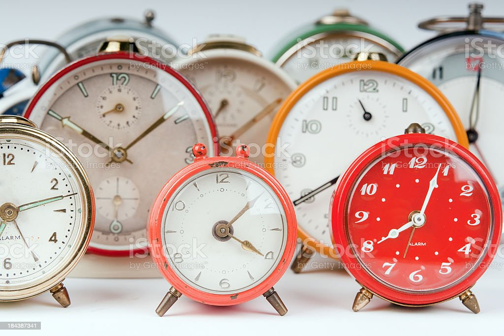 Group of alarm clocks stock photo