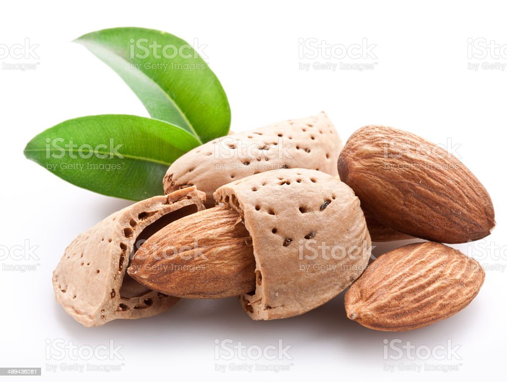 Group of almond nuts. stock photo