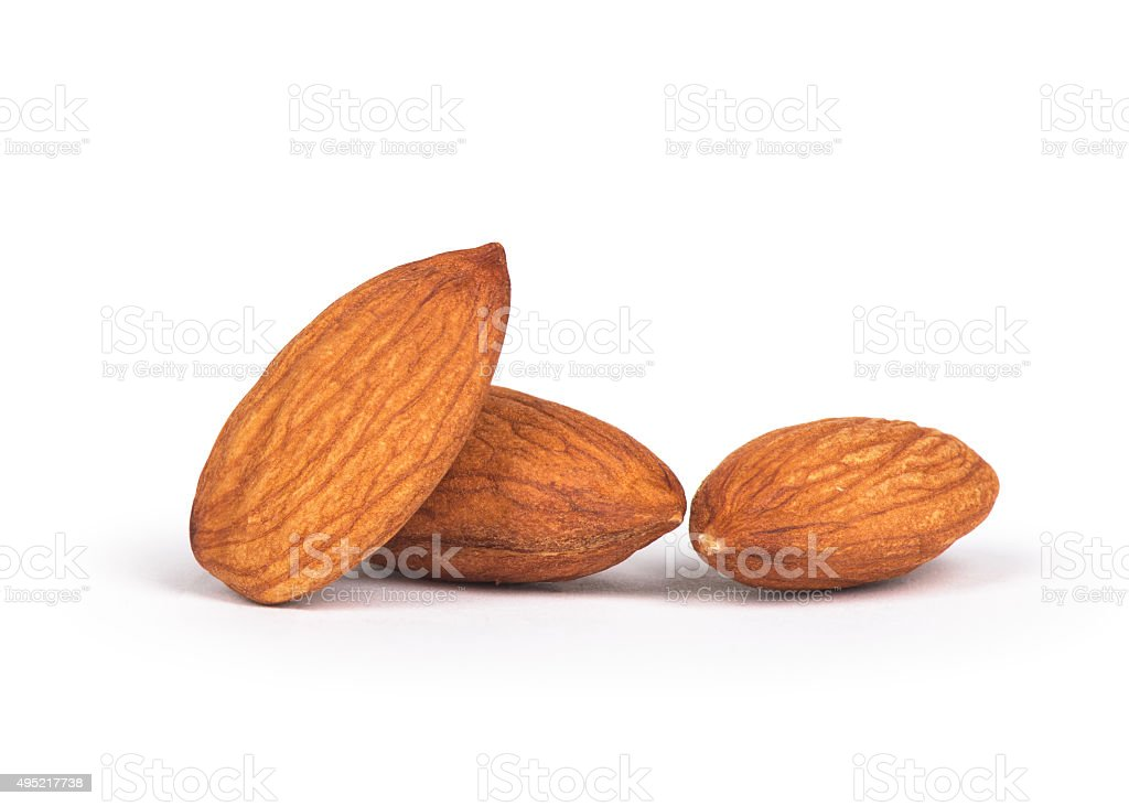 group of almonds isolated on white stock photo