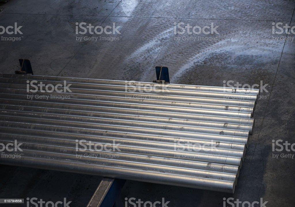Group of aluminium pipes stock photo