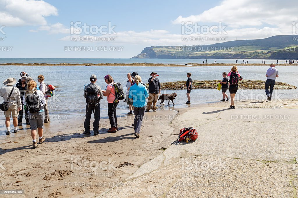 Group of American tourists on vacation, visiting the beach stock photo