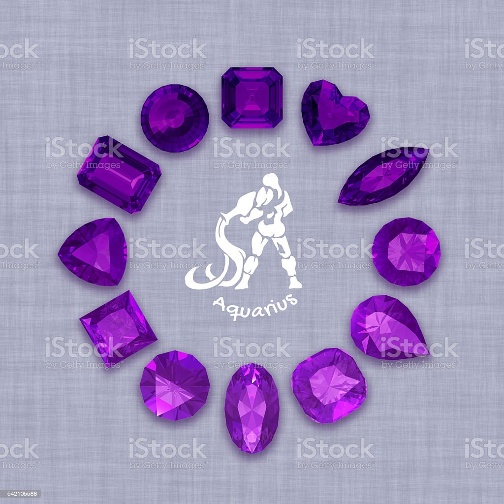 Group of  amethyst  gemstones  with clipping path stock photo