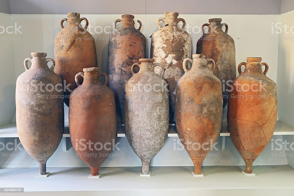 Group of Amphora recovered from the sea in Tuscany stock photo