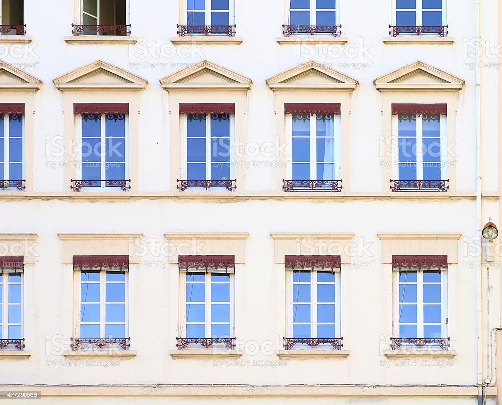 Group of apartment windows royalty-free stock photo