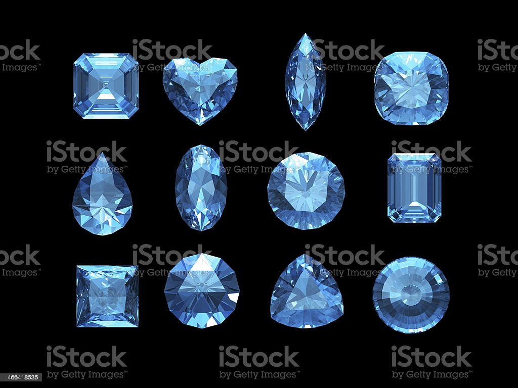 Group of  aquamarine shape with clipping path stock photo