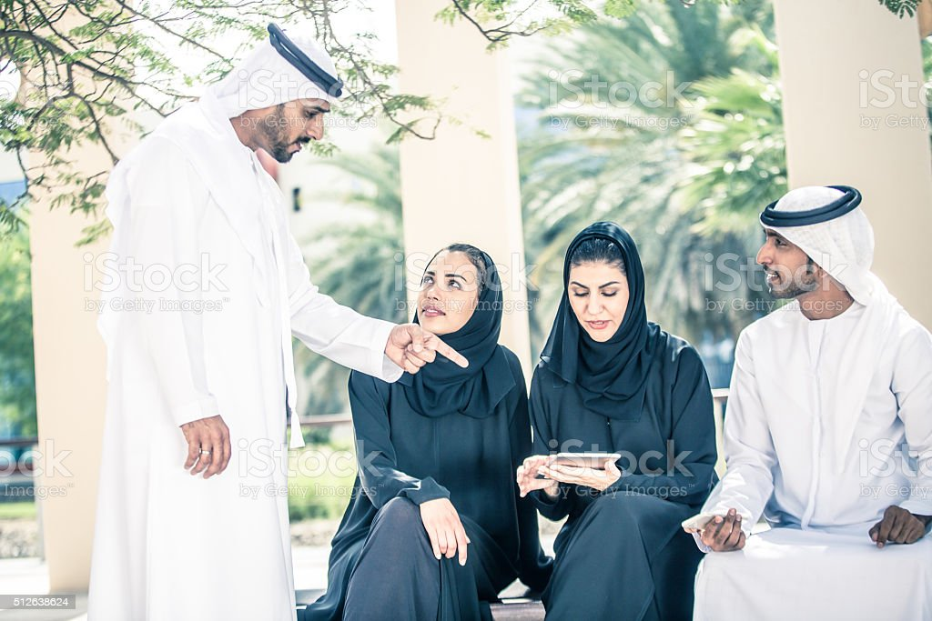 Group of Arab Students at University Campus stock photo